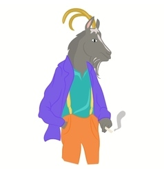 hipster goat in cool fashion clothes vector image