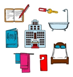 Hotel service and travel objects vector