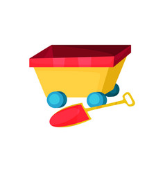 icon of colorful wagon on wheels and little shovel vector image