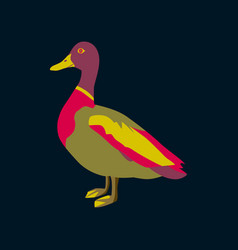 In flat style of wild duck vector