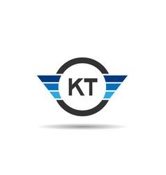 initial letter kt logo template design vector image
