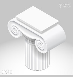 Isometric white capital of ancient column vector