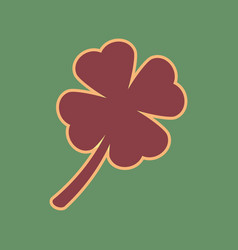 Leaf clover sign cordovan icon and mellow vector