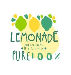 lemon pure 100 percent original design logo vector image