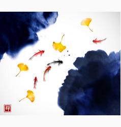 Liitle koi carps and yellow autumn leaves in water vector