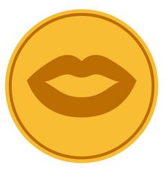 Lips gold coin vector