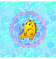 Little yellow fantastic horse with long nose vector image