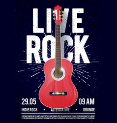 live rock music poster with classical guitar vector image