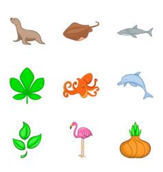 Living world icons set cartoon style vector