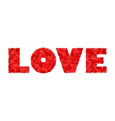 Love made of many red hearts on a white vector image