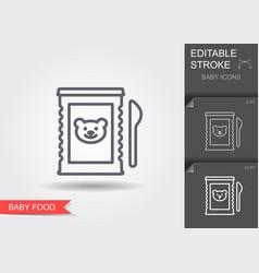 metal jar bamilk powder and spoon line icon vector image