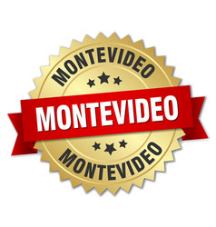 Montevideo round golden badge with red ribbon vector