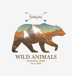 Mountains and bear silhouette wild animal vector