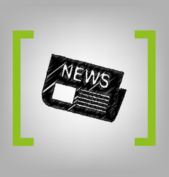 newspaper sign black scribble icon in vector image