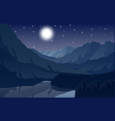 Night mountain landscape with forest and lake vector