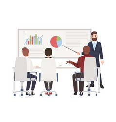 Office workers at whiteboard meeting bearded man vector