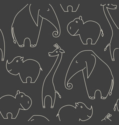 one line african animals seamless pattern vector image
