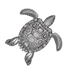 Ornate turtle in tattoo style isolated on white vector