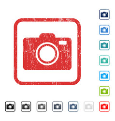Photo camera icon rubber watermark vector