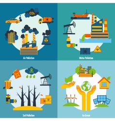 Pollution and ecology set vector