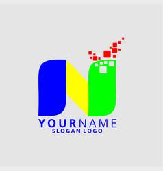 rainbow letter n vector image
