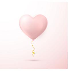 realistic pink heart balloon shine helium balloon vector image