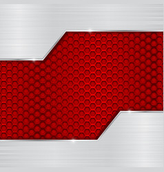 red metal perforated background with brushed vector image vector image