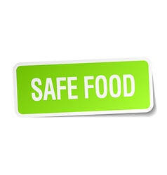 Safe food green square sticker on white background vector