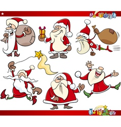 santa and christmas cartoon set vector image