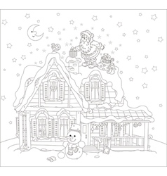 Santa with gifts on a rooftop vector