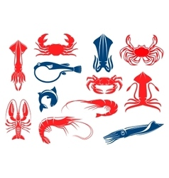 Seafood and fish food isolated icons vector