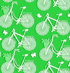 Seamless pattern of bicycles made of paper vector image