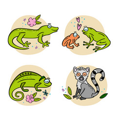 set madagascar animals hand drawn vector image