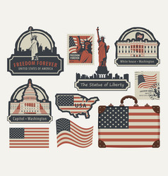 set of american symbols and landmarks vector image