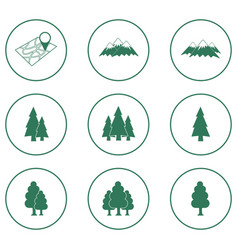 Set of forest and mountains icons vector