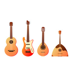 set stringed musical instruments collection of vector image