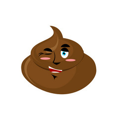 Shit winks emoji turd happy emotion isolated vector