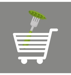 Shopping cart pea food healthy vector
