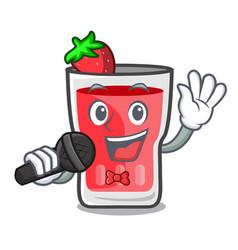 singing strawberry mojito mascot cartoon vector image