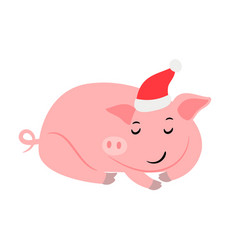 sleeping pink new year pig vector image