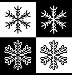 snowflake symbols icons simple black white set vector image