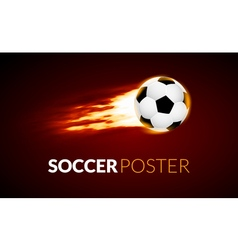 soccer ball banner with fire ball in motion vector image