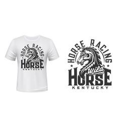 Stallion horse t-shirt print mockup horse race vector