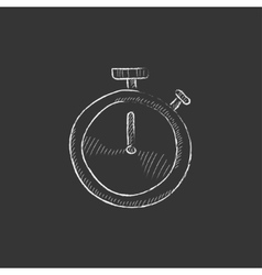 Stopwatch Drawn in chalk icon vector image