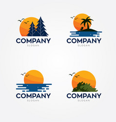 Sunset logos vector