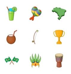 Symbols of Brazil icons set cartoon style vector