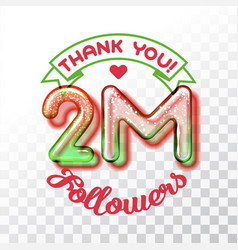 thank you 2m followers vector image