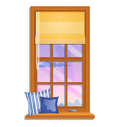 the window overlooking pink sky and the vector image