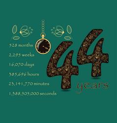 time counting card number 44 and pocket watch vector image