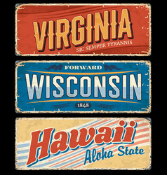 Usa state signs hawaii virginia and wisconsin vector